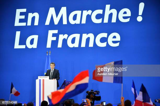 Founder and Leader of the political movement 'En Marche !' Emmanuel Macron speaks after winning the lead percentage of votes in the first round of...