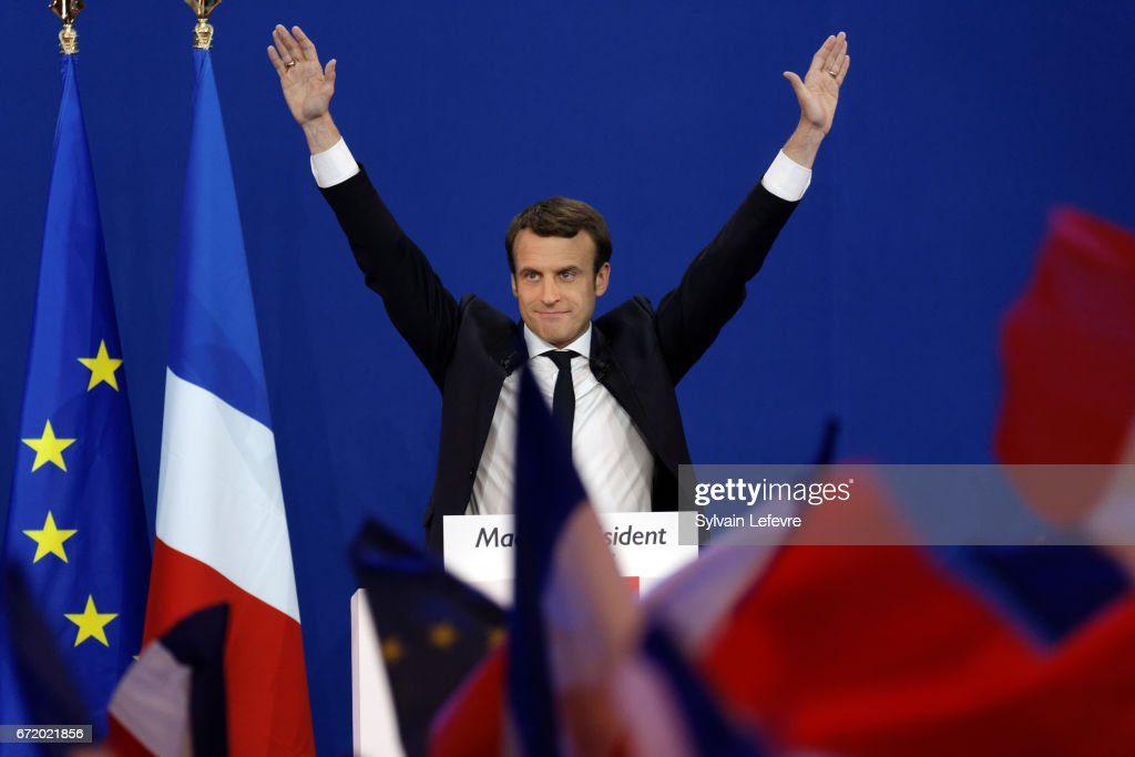 Emmanuel Macron Addresses Supporters After First Round Of French Presidential Election