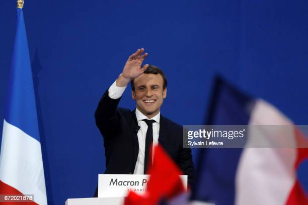 Founder and Leader of the political movement 'En Marche ' Emmanuel Macron speaks after winning the lead percentage of votes in the first round of the...