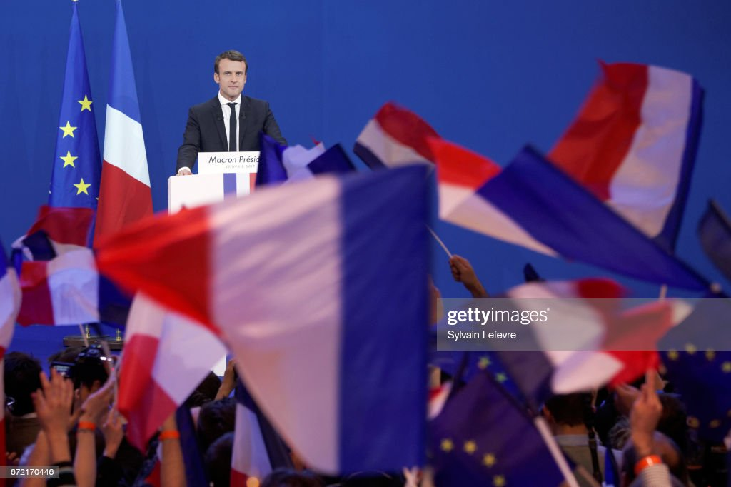 Founder and Leader of the political movement 'En Marche !' Emmanuel Macron speaks after projected results suggest that he has won the lead percentage of votes in the first round of the French Presidential Elections at Parc des Expositions Porte de Versailles on April 23, 2017 in Paris, France. Macron and National Front Party Leader Marine Le Pen, will compete in the next round of the French Presidential Elections on May 7 to decide the next President of France.