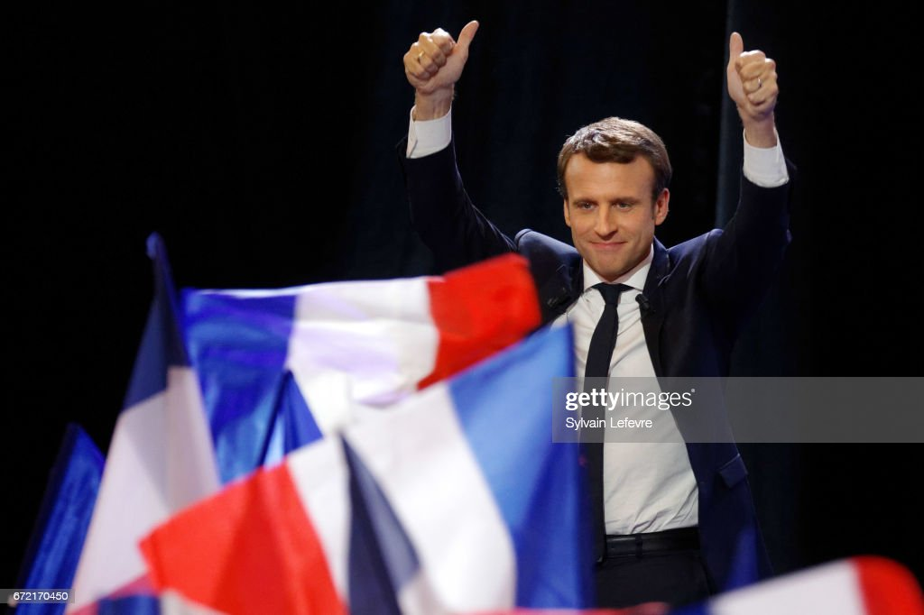 Founder and Leader of the political movement 'En Marche !' Emmanuel Macron speaks after winning the lead percentage of votes in the first round of the French Presidential Elections at Parc des Expositions Porte de Versailles on April 23, 2017 in Paris, France. Macron and National Front Party Leader Marine Le Pen, who received second largest vote, will compete in the next round of the French Presidential Elections on May 7 to decide the next President of France