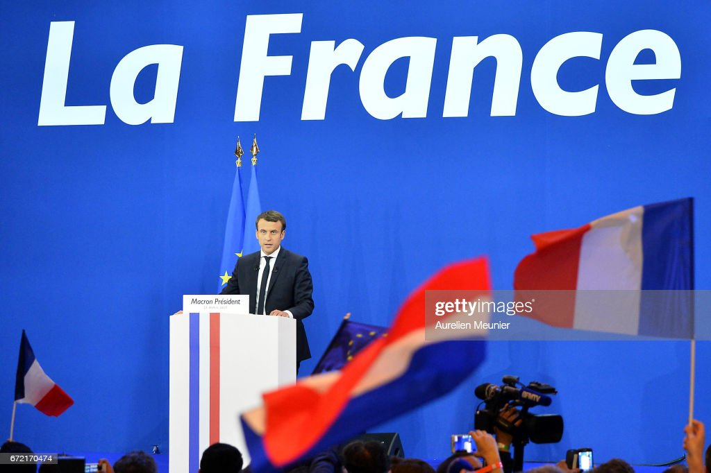 Founder and Leader of the political movement 'En Marche !' Emmanuel Macron speaks after winning the lead percentage of votes in the first round of the French Presidential Elections at Parc des Expositions Porte de Versailles on April 23, 2017 in Paris, France. Macron and National Front Party Leader Marine Le Pen, who received second largest vote, will compete in the next round of the French Presidential Elections on May 7 to decide the next President of France.