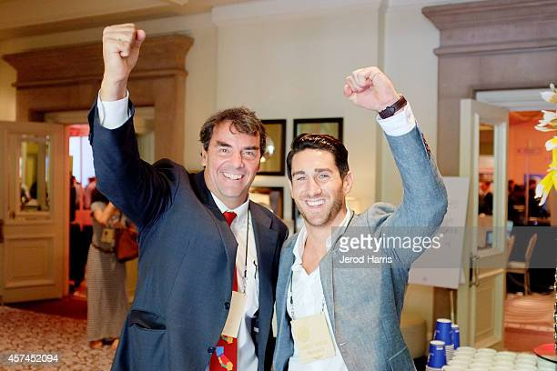 Founder and Managing Director of 'Draper Fisher Jurvetson' Tim Draper and Global Summit Director of The Kairos Society Aaron Barker attend the 2014...
