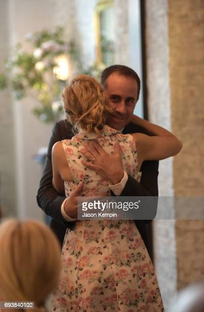 Founder and President GOOD Foundation Jessica Seinfeld and Host Jerry Seinfeld embrace during the GOOD Foundation MR PORTER Host Fatherhood Lunch...