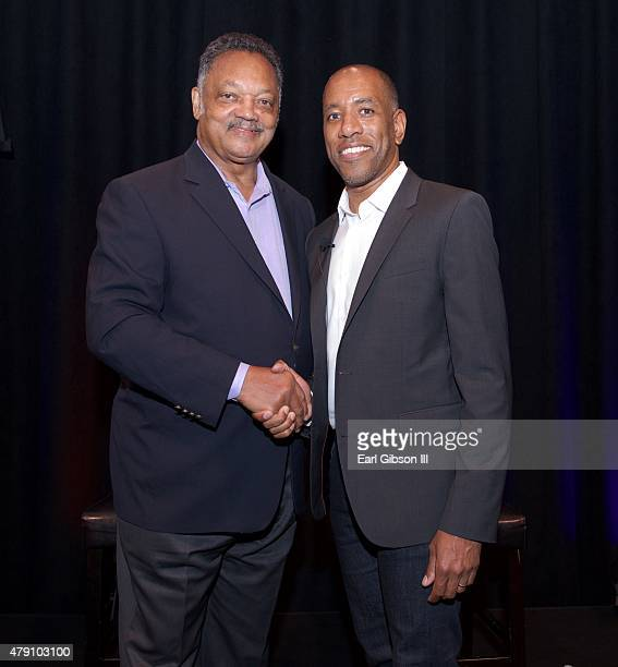 Founder and president of the Rainbow Push Coalition Jesse L Jackson Sr and Global Head of Family Learning at YouTube Malik Duncard pose for a photo...