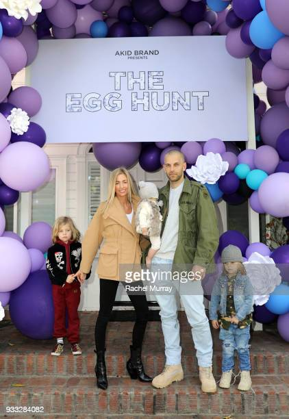 Founder Ashleigh Dempster with husband Matt George and children attend the AKID Brand's 3rd Annual 'The Egg Hunt' at Lombardi House on March 17 2018...