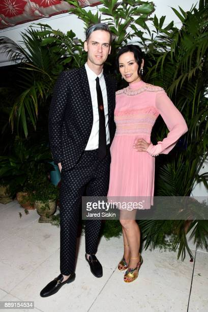 Founder at Artsy Carter Cleveland and Actress Wendi Deng Murdoch attend the Gucci X Artsy dinner at Faena Hotel on December 6 2017 in Miami Beach...