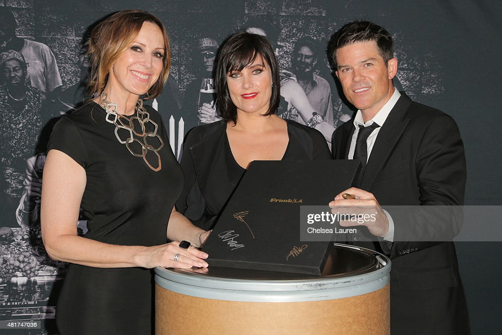 Founder & CEO of Frank LA Alison Miller, co-founder of Frank LA Cindy Troesh and co-founder of Frank LA Patrick Gill arrive at the Frank LA Issue release celebration 'No. 001 - No Place Like Home' benefitting LAMP community on July 23, 2015 in Los Angeles, California.