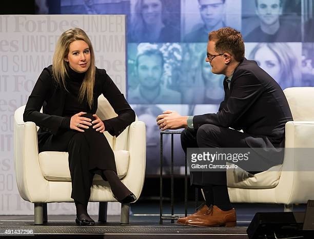 Founder CEO of Theranos Elizabeth Holmes and Senior Editor for Pharma Healthcare Forbes Media Matthew Herper attend Forbes Under 30 Summit at...