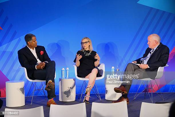 Founder CEO The Virtual Reality Company Guy Primus President Conde Nast Entertainment Dawn Ostroff and President The VR Society Jim Chabin speak...