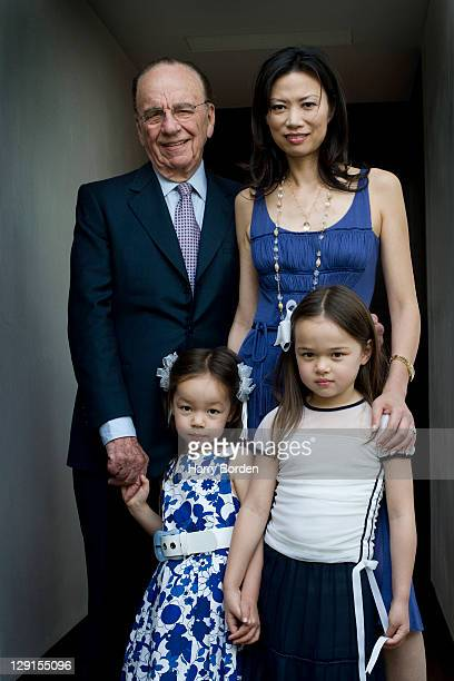 Founder chairman and CEO of News Corporation Rupert Murdoch is photographed with his wife Wendi Deng and their two children Grace and Chloe for Time...