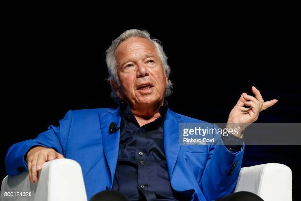 Founder Chairman and CEO of the Kraft Group Robert Kraft speaks during the Cannes Lions Festival 2017 on June 23 2017 in Cannes France