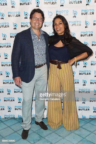 Founder Chief Butler of Photo Butler Andy Goldfarb and Rosario Dawson attend Rosario Dawson Hosts The Launch Of Photo Butler At Art Basel With Anna...