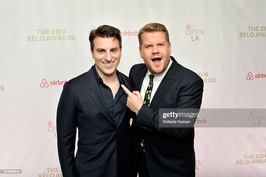 Founder & Chief Executive Officer, Airbnb, Brian Chesky (L) and tv personality James Corden attends the Belo Awards at The Orpheum Theatre during Airbnb Open LA - Day 3 on November 19, 2016 in Los Angeles, California.