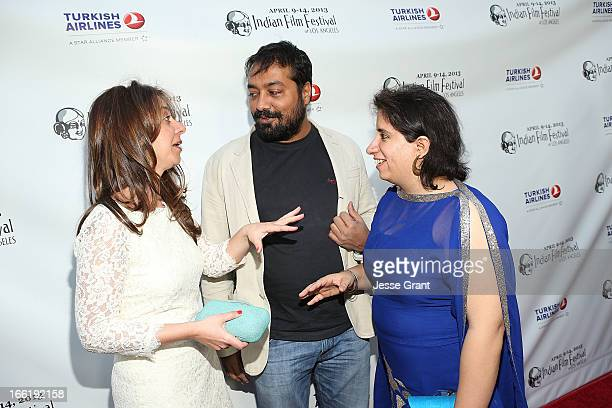 Founder Christina Marouda director Anurag Kashyap and producer Guneet Monga attend the Indian Film Festival of Los Angeles Opening Night Gala for...