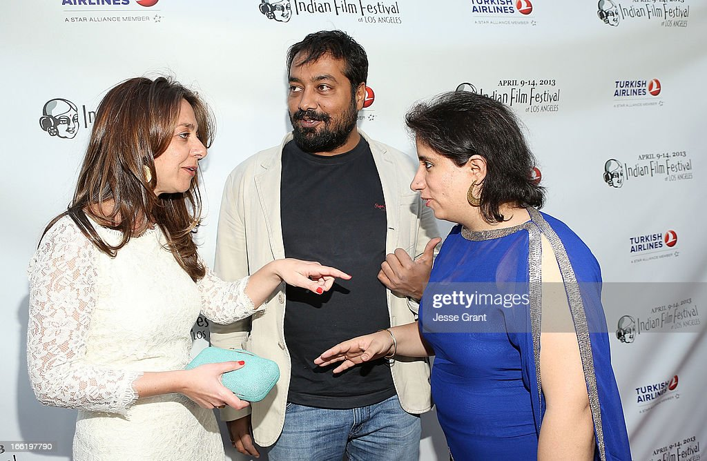 Founder Christina Marouda, director Anurag Kashyap and producer Guneet Monga attend the Indian Film Festival of Los Angeles (IFFLA) Opening Night Gala for 'Gangs Of Wasseypur' at ArcLight Cinemas on April 9, 2013 in Hollywood, California.