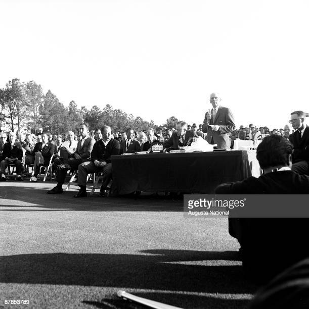 Founder Clifford Roberts speaks at the Presentation Ceremony to honor Masters Champion Jack Nicklaus during the 1963 Masters Tournament at Augusta...