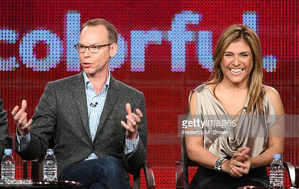 Founder CoCEO and Chairman of Chipotle Steve Ells and Chef Lorena Garcia speak during the America's Next Great Restaurant panel during the NBC...