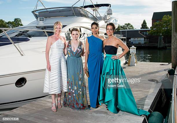 GIFF founder Colleen deVeer actress Abigail Breslin actress Freida Pinto and GIFF founder Wendy Reyes pose for a photo during 2016 Greenwich...