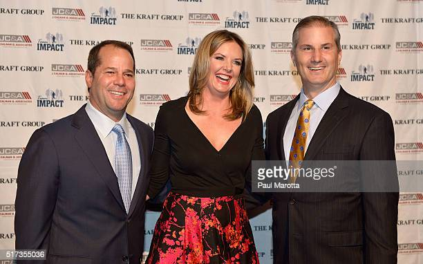 Founder Dan Kraft ESPN anchor and sports reporter Wendi Nix and founder Jay Calnan attend Team IMPACT Game Day Gala at Seaport World Trade Center on...