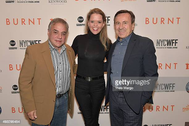 Founder Director of SOBEWFF and NYCWFF Lee Schrager chef Daniel Boulud and Katherine Gage attend the Private Screening Of BURNT QA Panel And...