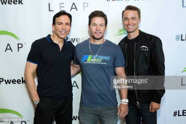 LEAP Founder Dr Bill Dorfman Actor Producer and Businessman Mark Wahlberg and Charlie Gallagher LEAP Foundation Executive Director attend the LEAP...