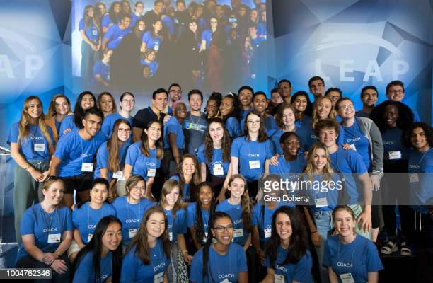 Founder Dr Bill Dorfman and Actor Producer and Businessman Mark Wahlberg and LEAP Coaches pose for a picture at the LEAP Foundation on July 24 2018...