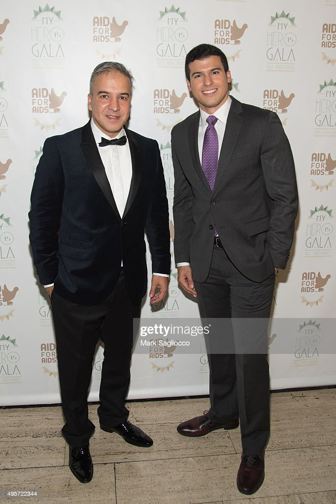 Founder & Executive Director Jesus Aguais (L) and Master of Ceremony Gio Benitez attends the 2015 Aid For AIDS Gala at Cipriani Downtown on November 4, 2015 in New York City.