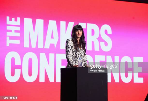 Founder @I_Weigh Jameela Jamil speaks onstage during The 2019 MAKERS Conference at Monarch Beach Resort on February 7 2019 in Dana Point California
