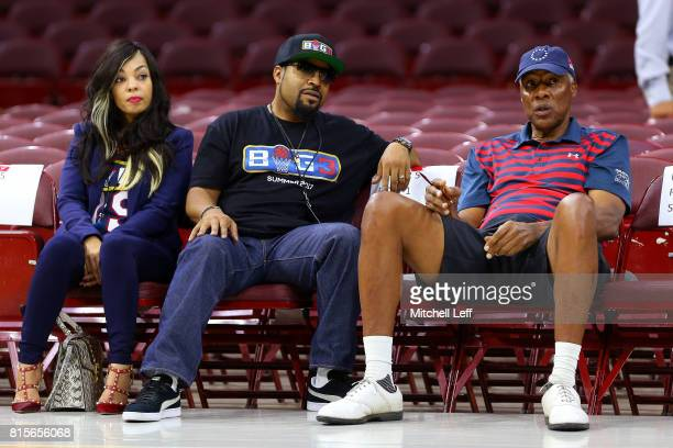 Founder Ice Cube speaks to coach Julius Dr J Erving before week four of the BIG3 three on three basketball league at Wells Fargo Center on July 16...