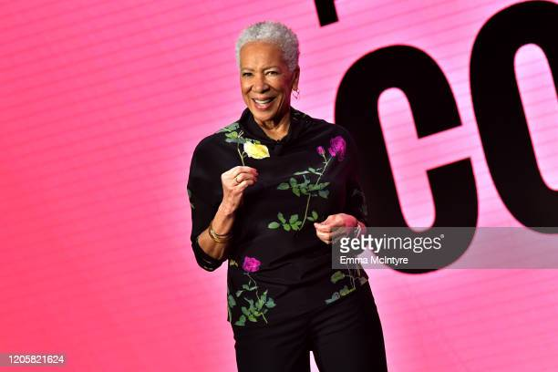 Founder in Residence of PolicyLink Angela Glover Blackwell speaks onstage during The 2020 MAKERS Conference at the InterContinental Los Angeles...