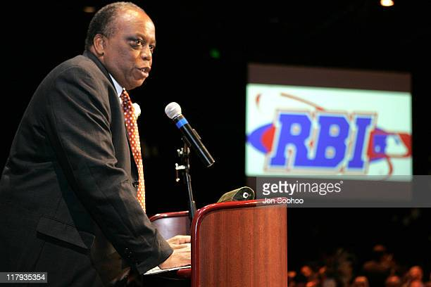 RBI Founder John Young speaks during the RBI Dinner at the Globe Theatre Universal Studios Hollywood Theme Park Reviving Baseball in Inner Cities...