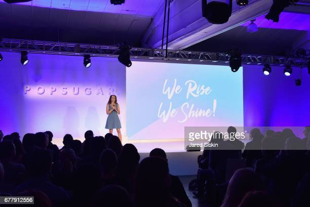 POPSUGAR founder Lisa Sugar speaks on stage during the POPSUGAR 2017 Digital NewFront at Industria Studios on May 3 2017 in New York City