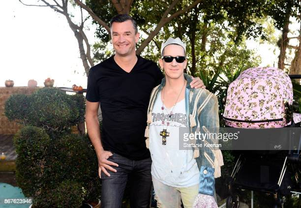 Founder Martin Pos and Jeremy Scott at the Cybex by Jeremy Scott Cherub Halloween Launch Celebration on October 28 2017 in Los Angeles California