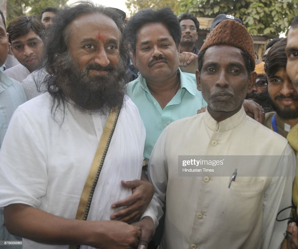 Founder of Art of living Sri Sri Ravi Shankar along with Iqbal Ansari Son of late Hashim Ansari who is one of the litigants in the ongoing Ram Janam..