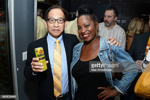 Founder of ARYA Curcumin George Uy and Ina Romeo attend ARYA Curcumin Presents The Yellow Social at Private Residence on August 20 2016 in Los...