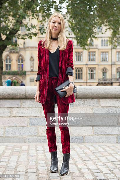 Founder of Avenue 32 Roberta Benteler wears a Haider Ackermann suit James Press top Gucci bag and Celine shoes on day 3 of London Womens Fashion Week...