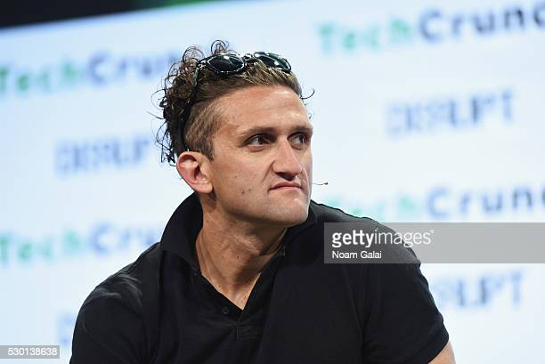 Founder of Beme Casey Neistat speaks onstage during TechCrunch Disrupt NY 2016 at Brooklyn Cruise Terminal on May 10 2016 in New York City