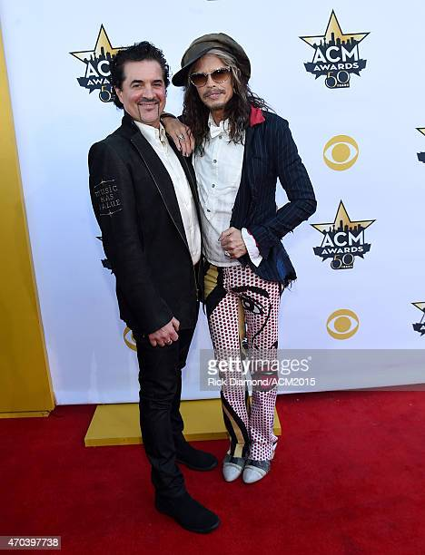 Founder of Big Machine Label Group Scott Borchetta and musician Steven Tyler attend the 50th Academy of Country Music Awards at ATT Stadium on April...