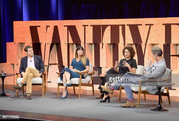 Founder of Blumhouse Jason Blum filmmaker Patty Jenkins Chairman of Universal Pictures Donna Langley and moderator Kay Ryssdal speak onstage during...