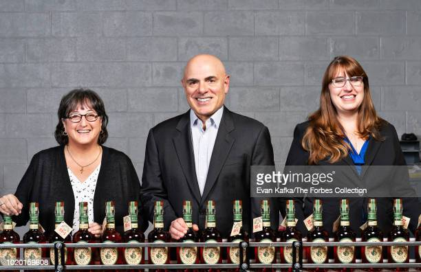 Founder of Chatham Imports and President of Michter's Distillery Joseph J Magliocco is photographed with master distiller Pamela Heilmann and master...