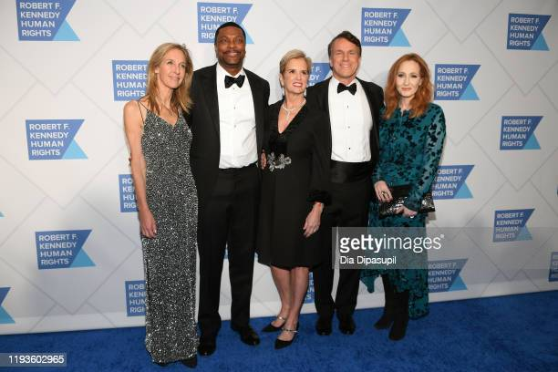 Founder of Cool Globes Wendy Abrams actor Chris Tucker Kerry Kennedy Glen Tullman and author JK Rowling arrive at the RFK Ripple of Hope Awards at...