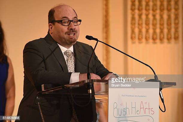 Founder of craigslist and craigconnects Craig Newmark speaks onstage during Russell Simmons' Rush Philanthropic Arts Foundation's Annual Rush HeARTS...