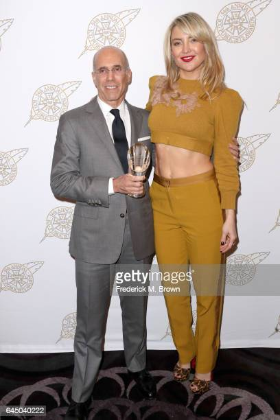 Founder of DreamWorks Animation Jeffrey Katzenberg poses with his Lifetime Achievement award with Actress Kate Hudson backstage at the 54th Annual...