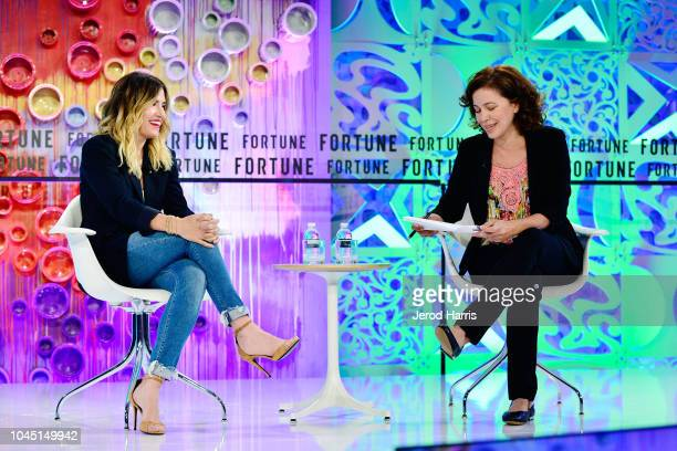 Founder of Drybar Alli Webb and Michal LevRam attend Fortune Most Powerful Women Summit 2018 at Ritz Carlton Hotel on October 3 2018 in Laguna Niguel...