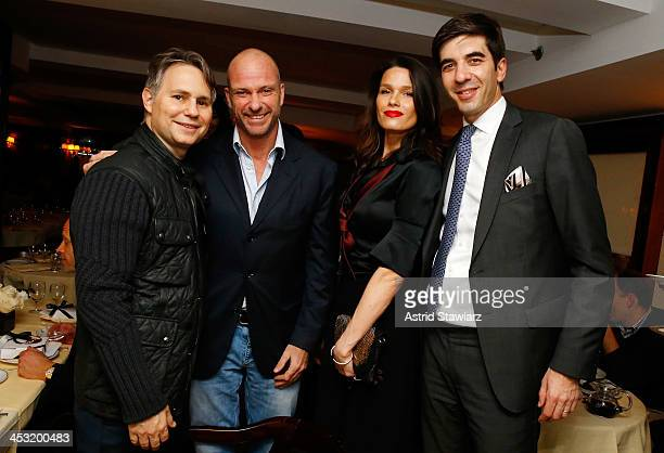 Founder of DuJour Media Group Jason Binn racing driver Giuseppe Cipriani model Larissa Bond and IWC North America President Gianfranco D'Attis attend...