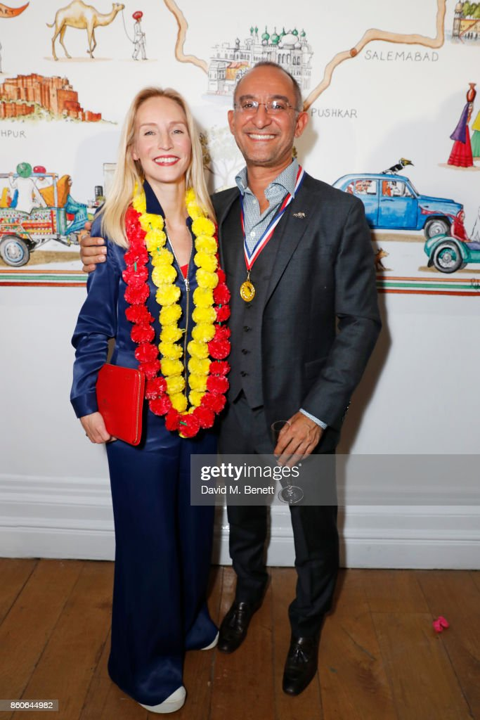 Founder of Elephant Family Ruth Ganesh and Fardad Ghodoussi attend the Travels to My Elephant racer send-off party hosted by Ruth Ganesh, Ben Elliot and Waris Ahluwalia in association with The Luxury Collection at 1 Horse Guards Avenue on October 12, 2017 in London, England.