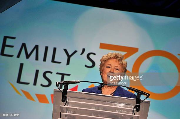 Founder of EMILY's List Ellen Malcolm speaks at EMILY's List 30th Anniversary Gala at Washington Hilton on March 3 2015 in Washington DC