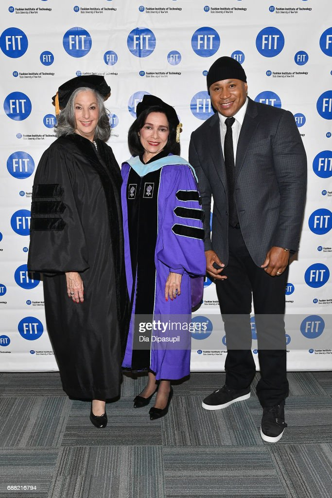 Founder of Essie Cosmetics, Ltd Essie Weingarten, FIT President Dr. Joyce F. Brown, and LL Cool J attend The Fashion Institute of Technology's 2017 Commencement Ceremony at Arthur Ashe Stadium on May 25, 2017 in New York City.