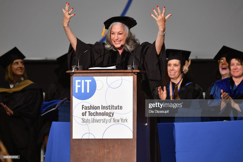 Founder of Essie Cosmetics, Ltd Essie Weingarten speaks onstage during The Fashion Institute of Technology's 2017 Commencement Ceremony at Arthur Ashe Stadium on May 25, 2017 in New York City.